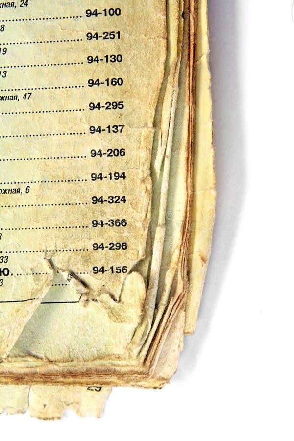 Altes TelefonNachschlagbuch lizenzfreies stockbild