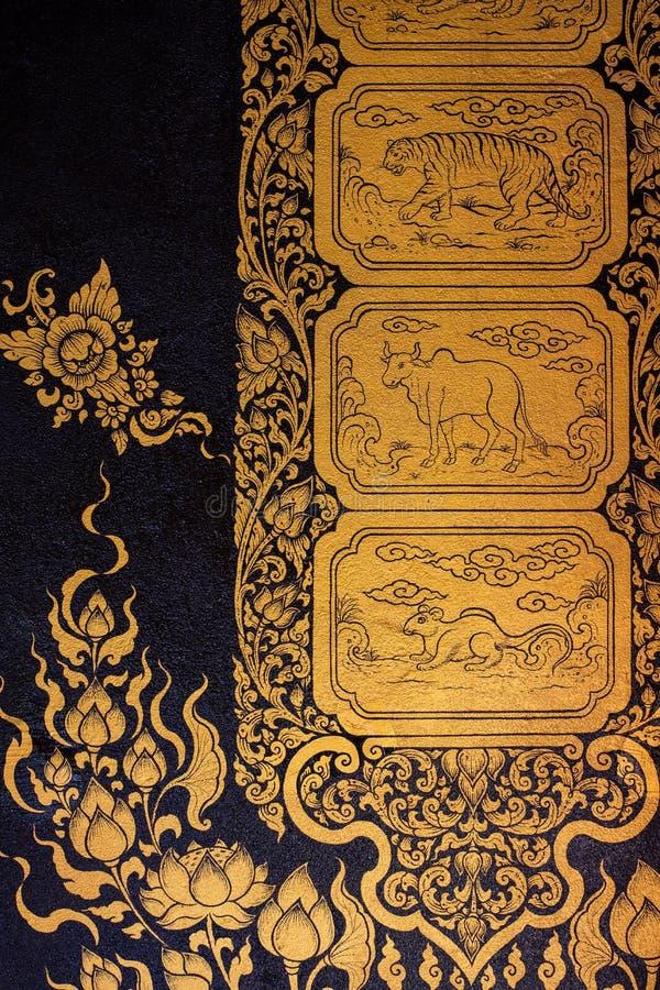 Altes thailändisches Muster auf Wand in Tempel Thailands Buddha, Asiats-Buddha-Artkunst, schönes Muster auf Tempelwand lizenzfreie stockfotos