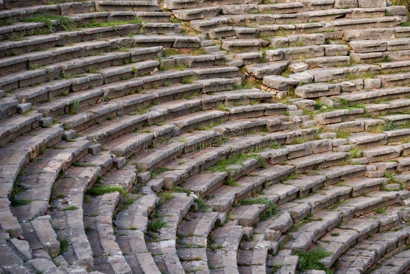 Altes Theater in Delphi, Griechenland stockbild