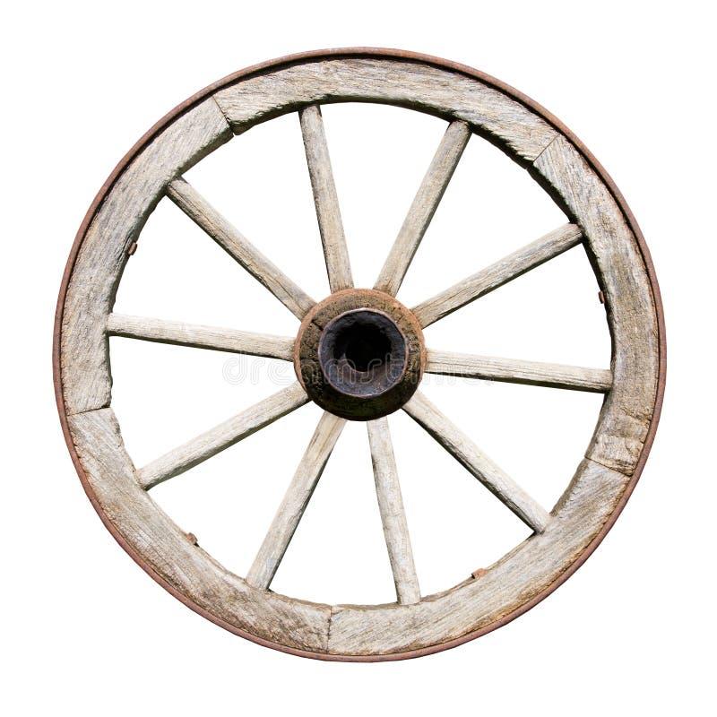 Altes traditionelles Wodden Rad getrennt auf Weiß stockfotos