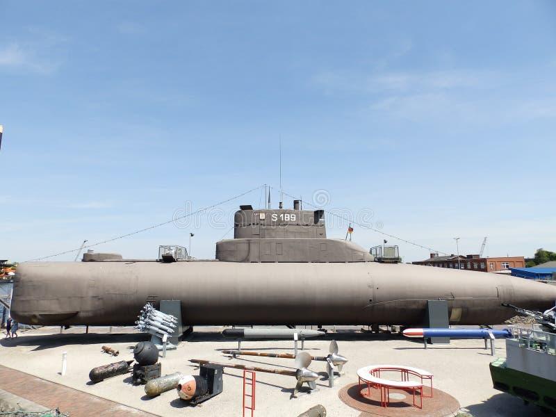 Altes Unterseeboot im Marinemuseum lizenzfreies stockbild