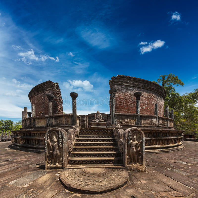 Altes Vatadage, Sri Lanka stockfotos