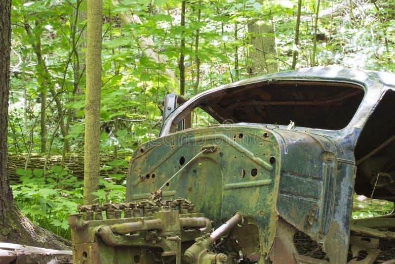 Altes verlassenes Auto im Wald lizenzfreie stockfotos