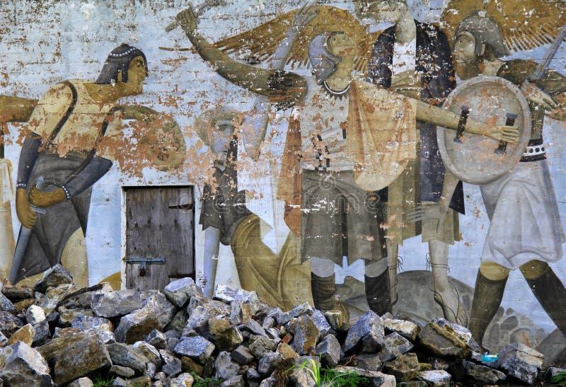 Altes, verwittertes Detail in der kreativen Straßenkunst, Limerick, Irland, im Oktober 2014 lizenzfreie stockbilder