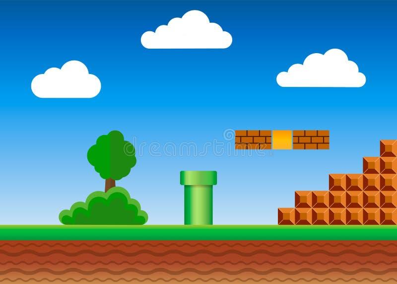 Altes Videospiel Retro- Arthintergrund Auch im corel abgehobenen Betrag vektor abbildung