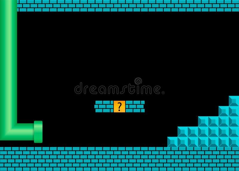 Altes Videospiel Retro- Arthintergrund Auch im corel abgehobenen Betrag stock abbildung