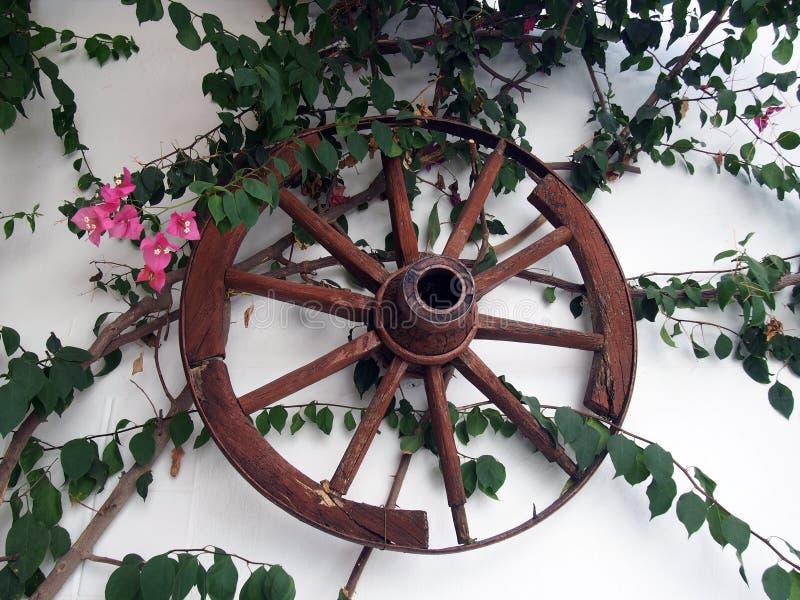 Altes Wagenrad auf einer rehabilitierten Wand stockbild