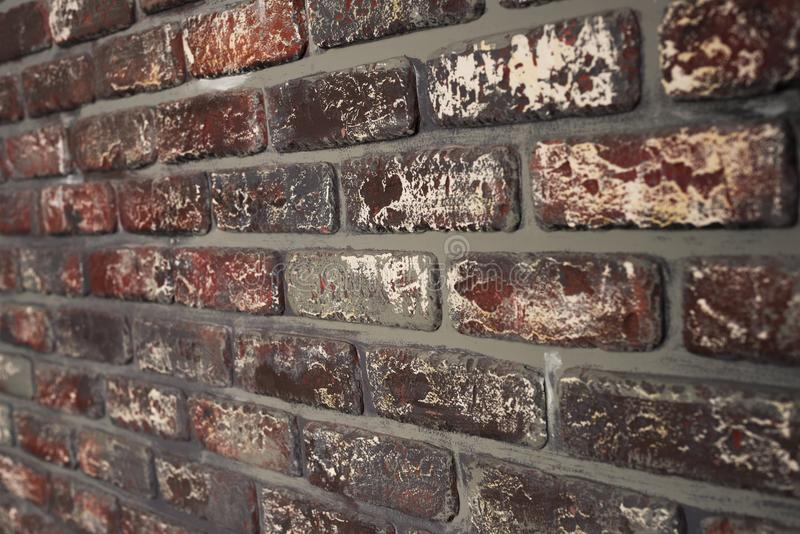 Altes Wand-Beschaffenheitshintergrund cloe des roten Backsteins oben stockfoto