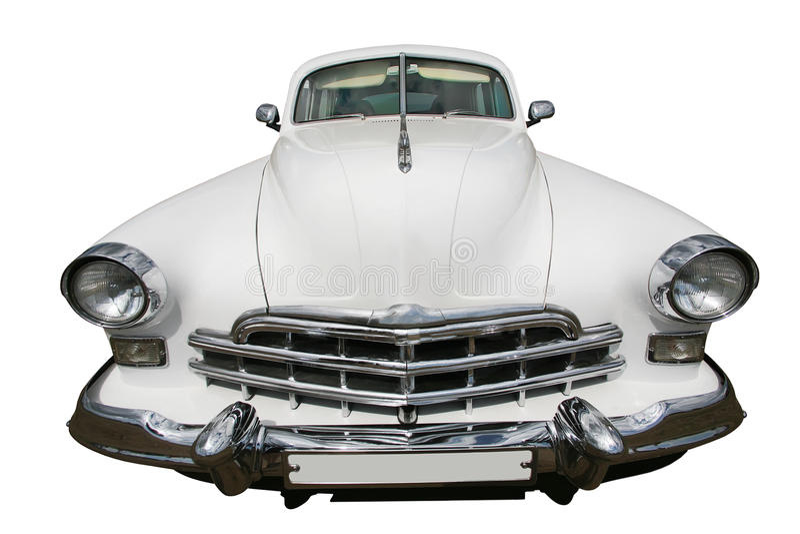Altes weißes Auto lokalisiert lizenzfreies stockfoto