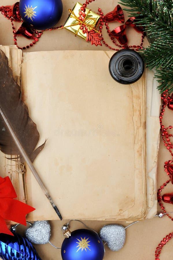 Altes Weihnachtsbuch stockfoto