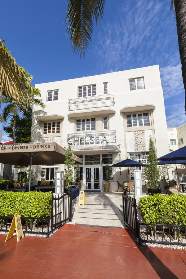 Altes Weinlese Hotel Chelsea im Miami Beach in der Art- DecoArt stockbild