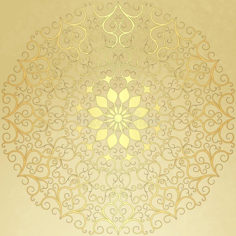 Altes Weinlesepapier mit Goldrundem Muster lizenzfreie abbildung