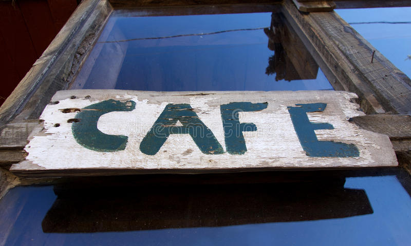 Altes Westcafé-Zeichen stockfotos
