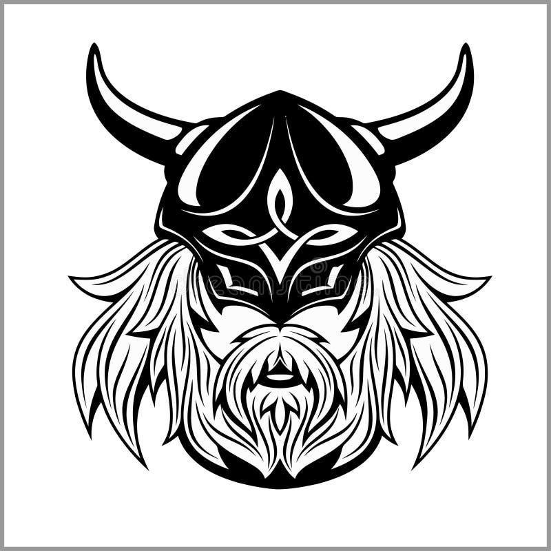 Altes Wikinger-Kopflogo für Maskottchendesign lizenzfreie abbildung