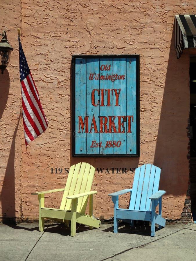 Altes Wilmington-Stadt-Markt-Zeichen lizenzfreie stockfotos