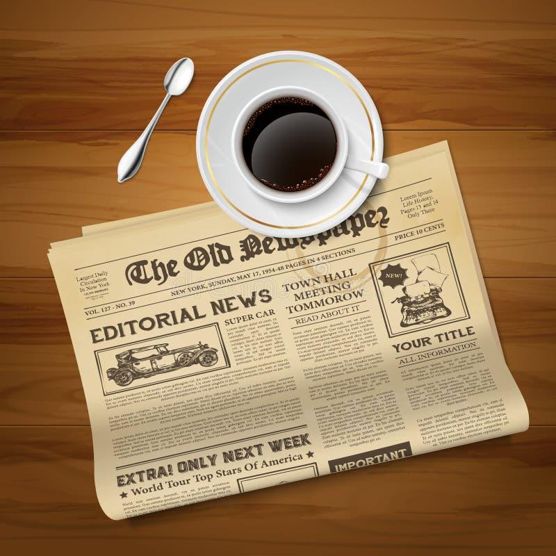 Altes Zeitungs-Weinlese-Bild lizenzfreie abbildung