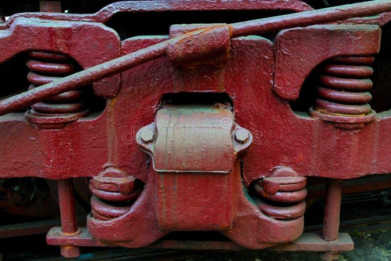 Altes Zug-Suspendierungs-Detail lizenzfreies stockbild