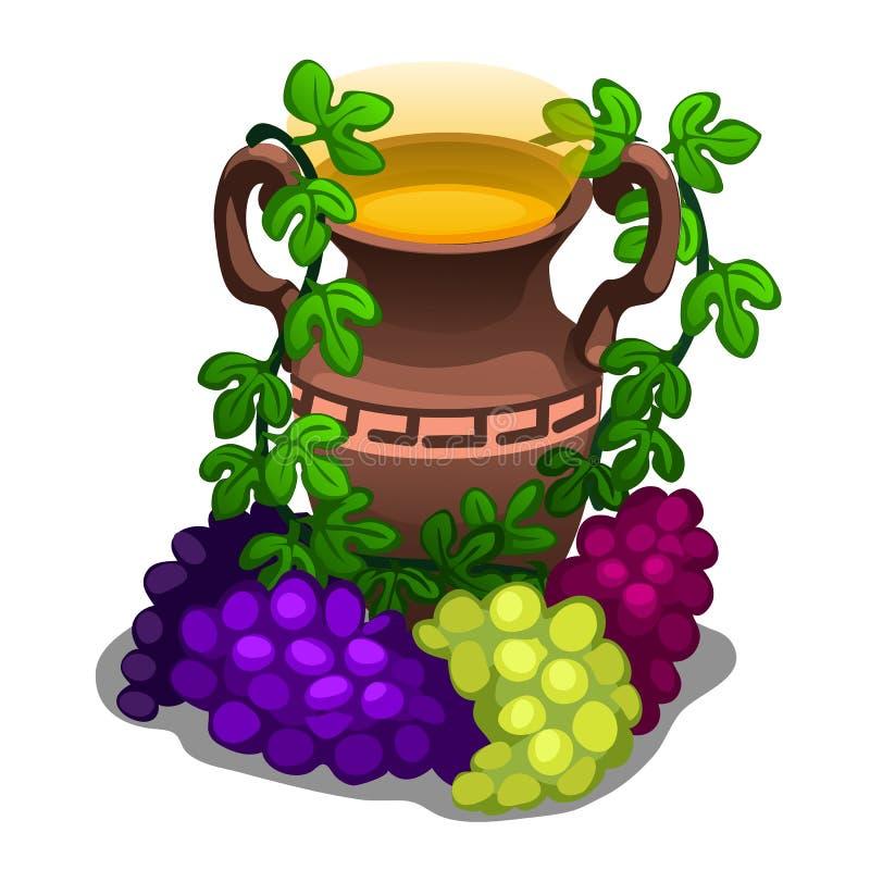 Altgriechische Amphore mit Traubenwein stock abbildung