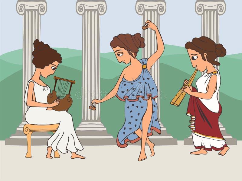 Altgriechische Frauen, die Musikkarikatur spielen stock abbildung