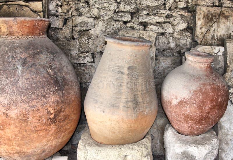 Altgriechische Krüge stockfoto