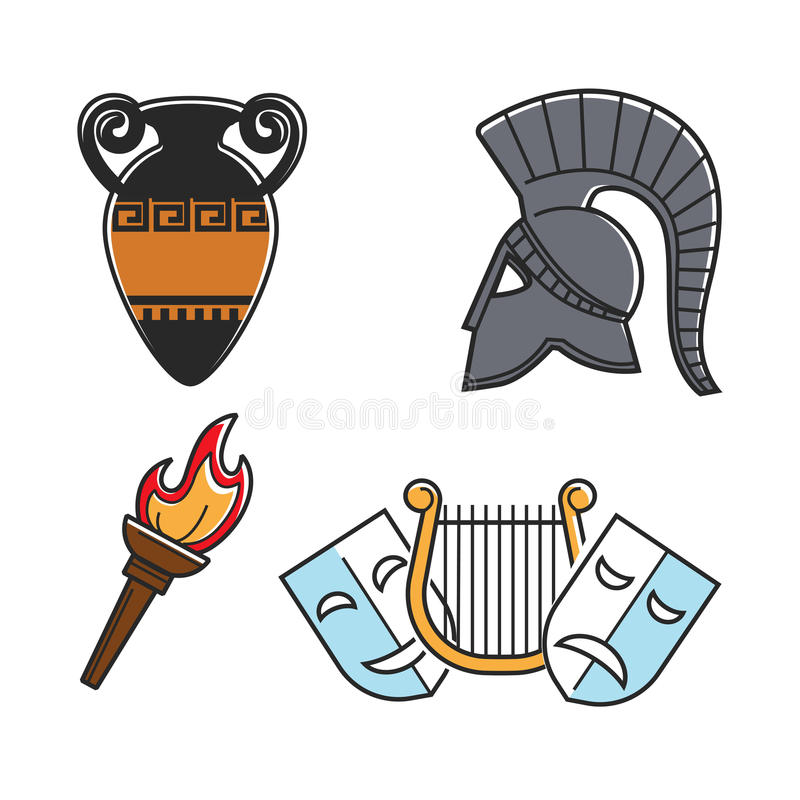 Altgriechische Kultursymbole lokalisierten die eingestellten Karikaturillustrationen vektor abbildung