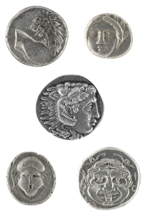 Altgriechische Münzen lizenzfreie stockbilder