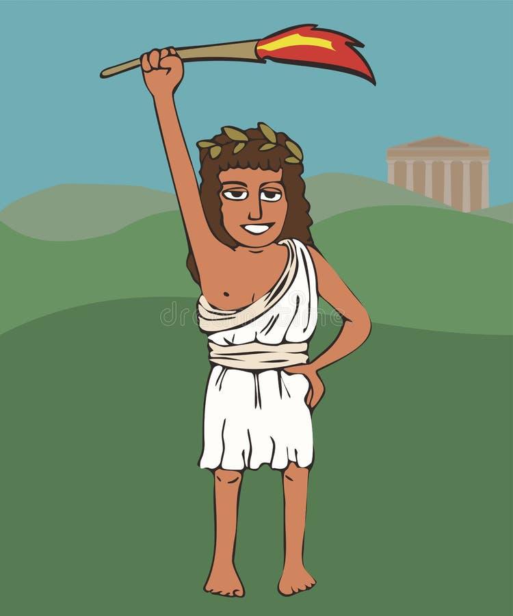 Altgriechischer Mädchenathlet mit olympischer Flamme stock abbildung