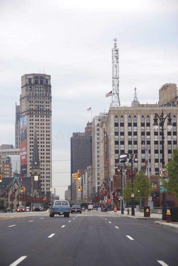Alti edifici per uffici di aumento a Detroit, Michigan immagini stock libere da diritti