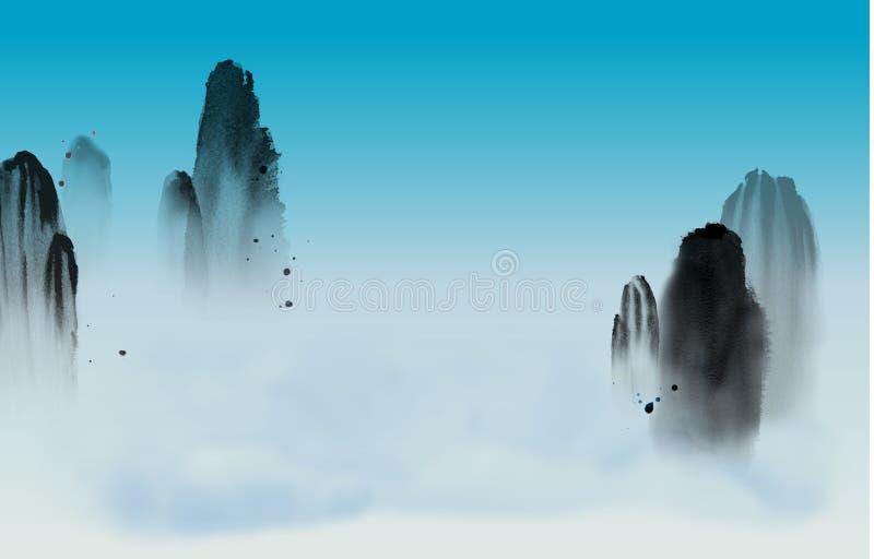 Alti montagne nebbiose, cielo blu e nuvole Sumi-e orientale tradizionale della pittura dell'inchiostro, u-peccato, andare-hua illustrazione vettoriale
