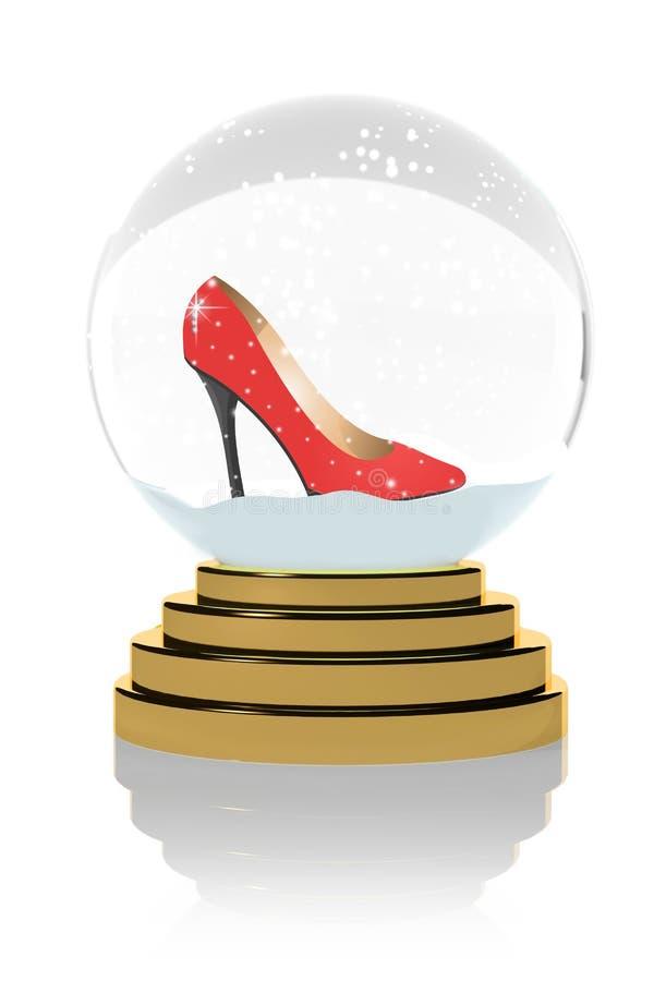 Alti talloni rossi in un globo della neve royalty illustrazione gratis