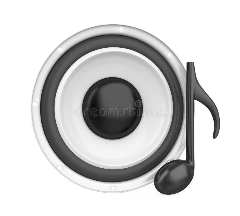 Altifalante audio sadio com a nota da música isolada ilustração royalty free