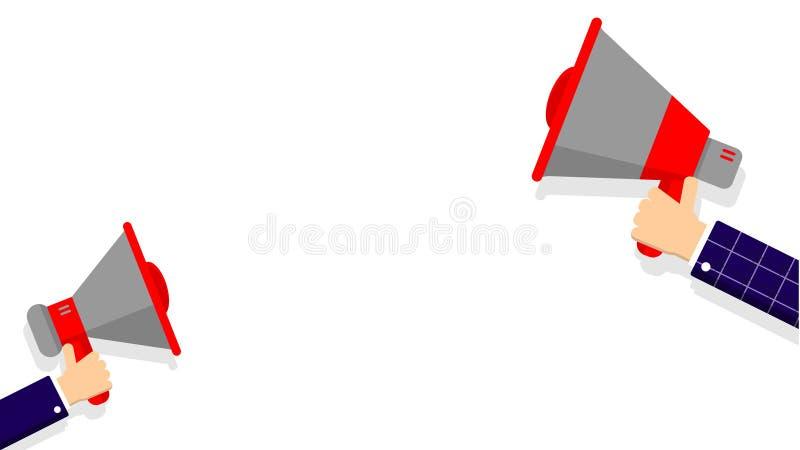 Altifalante da terra arrendada de duas mãos no fundo branco para o anúncio ilustração stock