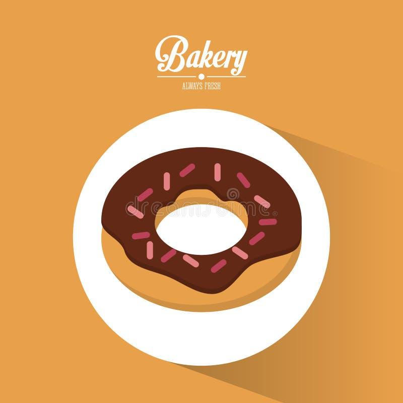Altijd verse doughnut van de bakkerij de verse chocolade royalty-vrije illustratie