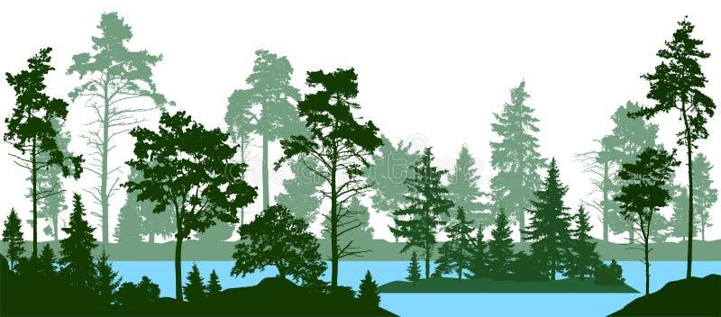 Altijdgroen naaldbos met pijnbomen, sparren, Kerstmisboom, ceder, Schotse spar Bossilhouetbomen De vector van de meerrivier royalty-vrije illustratie