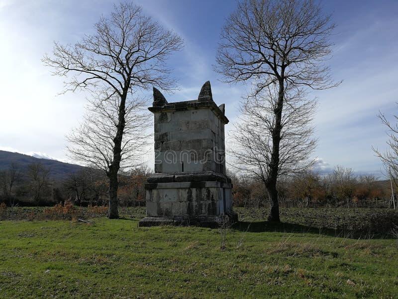 Altilia - Mausoleum of Publio Numisio Ligo. Altilia, Sepino, Campobasso, Molise, Italy - 8 March 2018: Mausoleum of Publio Numisio Ligo outside Porta Bojano, one royalty free stock image