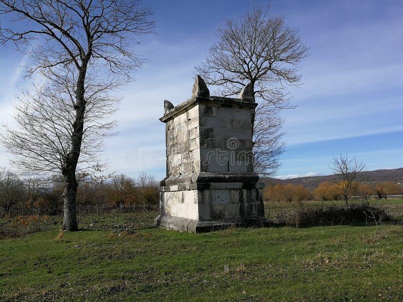 Altilia - Mausoleum. Altilia, Sepino, Campobasso, Molise, Italy - 8 March 2018: Mausoleum of Publio Numisio Ligo outside Porta Bojano, one of the accesses of the royalty free stock image