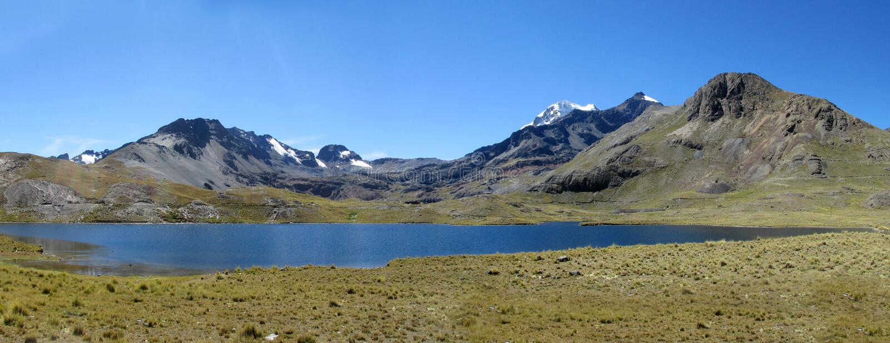 altiplano的,玻利维亚大山湖 免版税库存照片