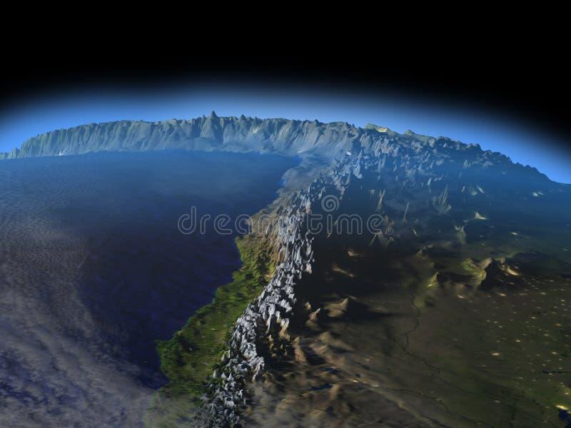 Altiplano in de Andes bij nacht stock illustratie