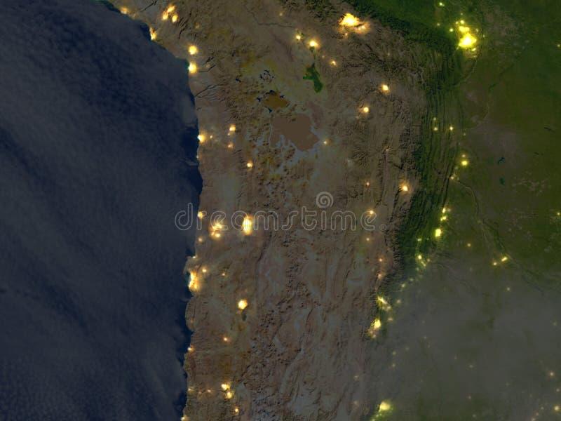 Altiplano in de Andes bij nacht op aarde stock illustratie