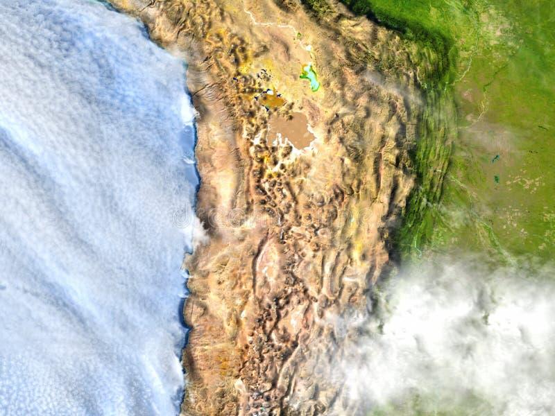 Altiplano in de Andes op aarde stock illustratie