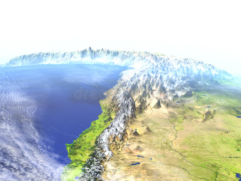 Altiplano in de Andes op realistisch model van Aarde vector illustratie