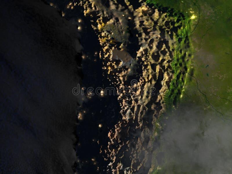 Altiplano in de Andes op realistisch model van Aarde stock illustratie