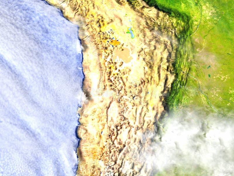 Altiplano in de Andes op realistisch model van Aarde royalty-vrije illustratie