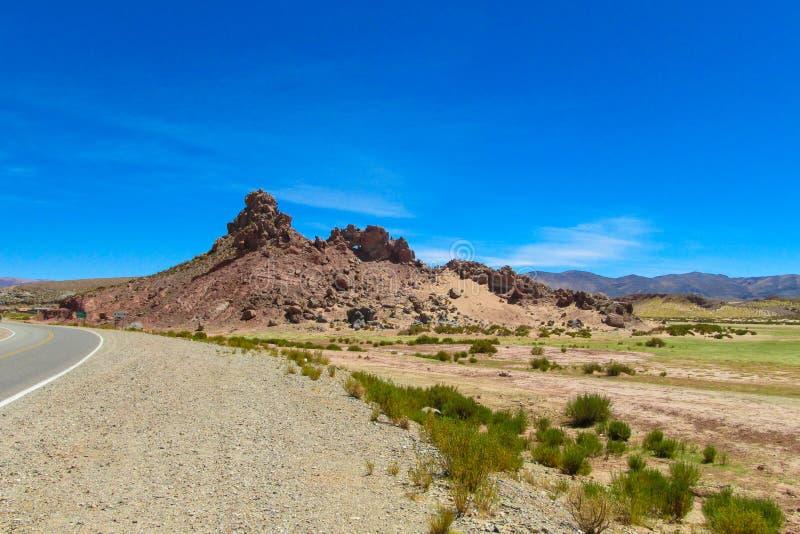 Altiplano pustynny suchy krajobraz i asfaltowa droga zdjęcie stock