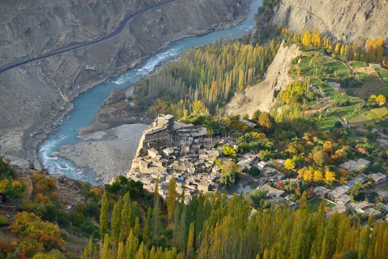 Altis堡垒 Hunza谷美好的风景在秋天季节的 免版税库存图片