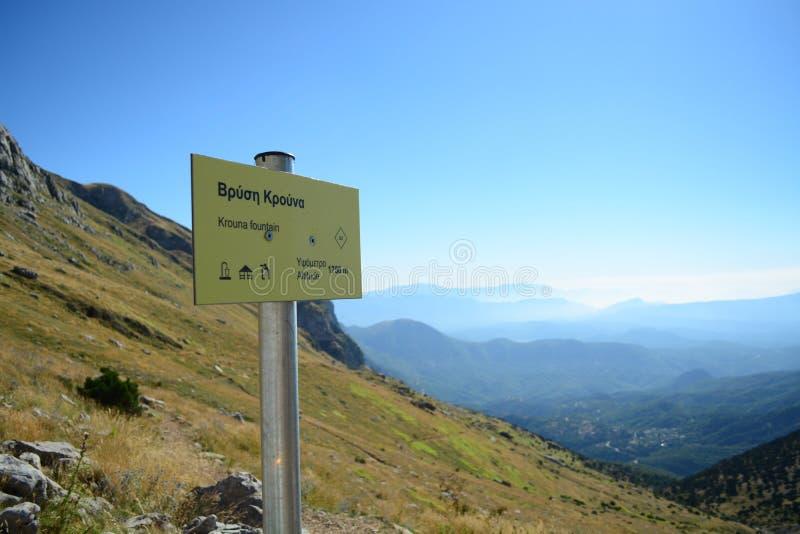 Altitude sign in Mount Tymfi royalty free stock photos
