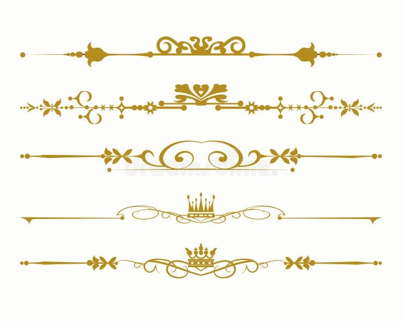 Altmodische Gestaltungselemente Golg im weißen Hintergrund Symbole, Kronen, Kalligraphie, Teiler für Ihren Entwurf stock abbildung