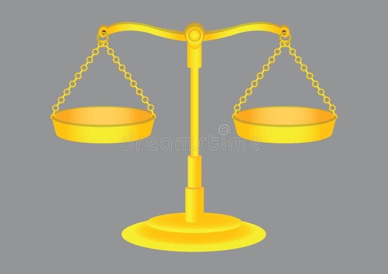 Altmodische goldene wiegende Skala-Vektor-Illustration vektor abbildung