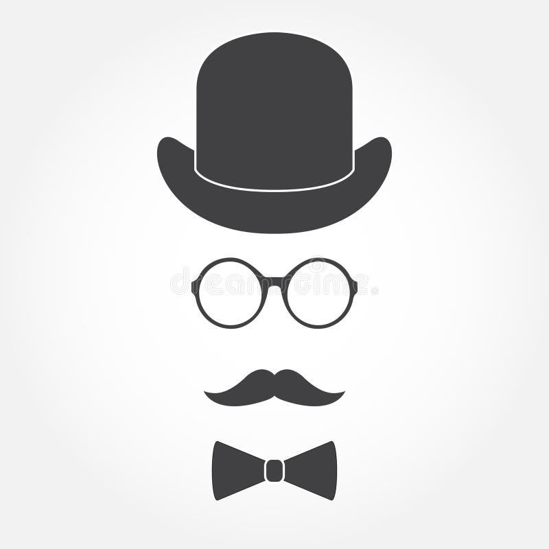Altmodische Herrzubehörikonen eingestellt: Hut, Gläser, Schnurrbart und bowtie Nette Auslegungselemente für Ihre besten kreativen vektor abbildung