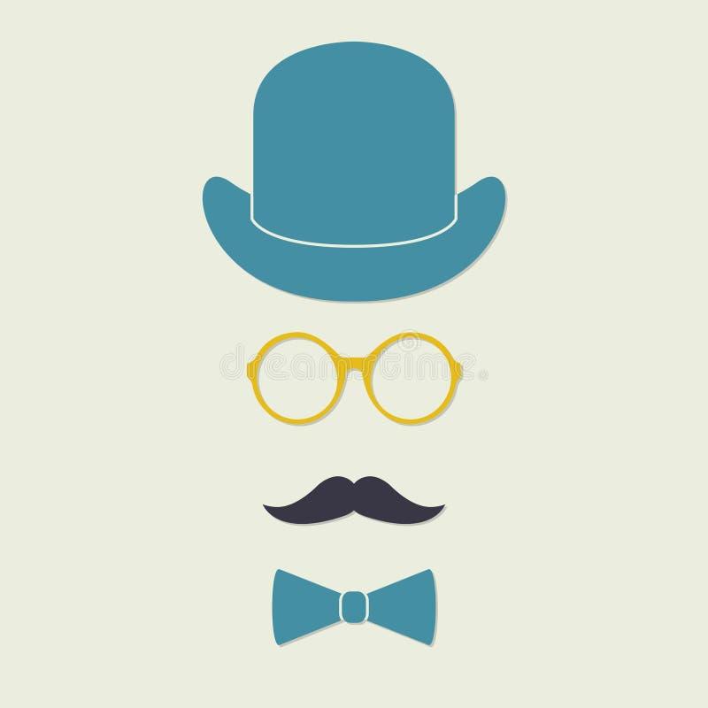 Altmodische Herrzubehörikonen eingestellt: Hut, Gläser, Schnurrbart und bowtie Nette Auslegungselemente für Ihre besten kreativen lizenzfreie abbildung